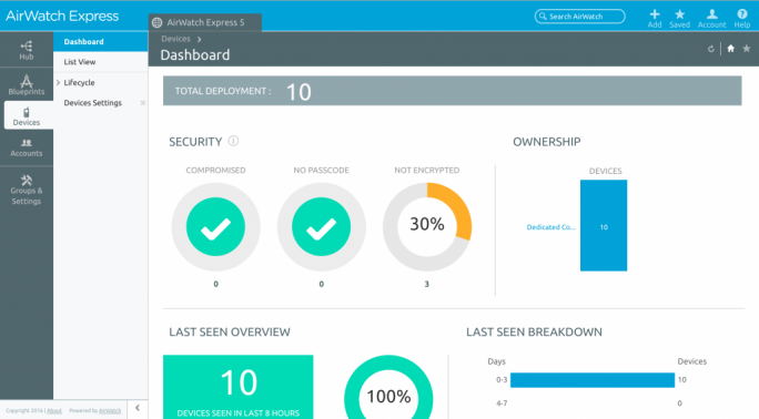 AirWatch Express bietet auch kleinen Organisationen mobile Datensicherheit. (Bild: VMware)