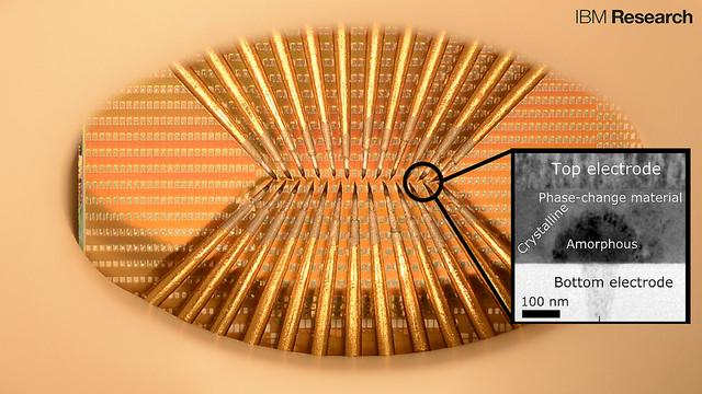 """""""Phase-change Neurons"""" auf einem Chip können hier mit einander interagieren. Die kleinen Quadrate sind Kontakte für die Phase-Change-Zellen, die über Impulse so lange gereizt werden, bis sie kristallin werden und einen Impuls senden. Bis zu 100 solcher Zellen werden über diese spitzen Nadeln angesprochen. (Bild: IBM Research)"""