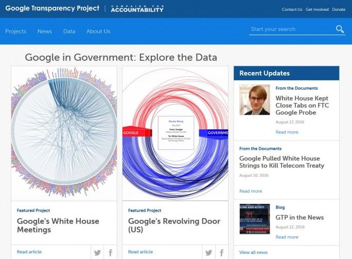 Auf seiner Website legt das Google Transparancy Project allerhand Daten vor, die eine enge Verbindung zwischen Google und US-Regierung belegen sollen (Screenshot: silicon.de)