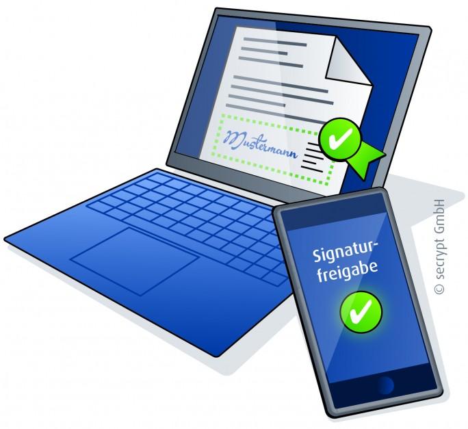 Mobile Signatur mittels Smartphone. (Bild: secrypt)