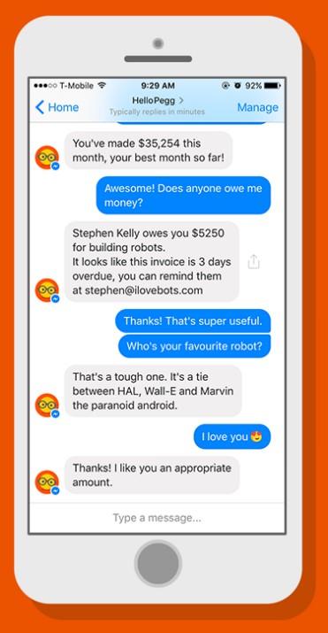 """""""Steven schuldet Dir 5200 Dollar und was ist Deine Lieblingsfarbe?"""" Buchhaltung über einen intelligenten Chatbot. (Bild: Sage)"""
