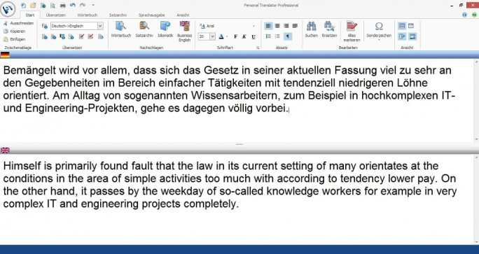 Personal Translator Professional 18 übersetzt beispielsweise von Deutsch nach Englisch. (Screenshot: Mehmet Toprak)