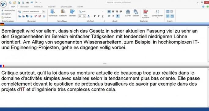 Auch die Übersetzung ins Französische macht der Personal Translator Professional 18 möglich. (Screenshot: Mehmet Toprak)