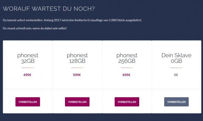 """Die """"Phonest""""-Macher haben die Mechanismen der Smartphone-Branche zum Ankurbeln des Umsatzes perfekt nachgeahmt. Wer auf """"vorbestellen"""" klickt wird aber nicht mehrere hundert Euro los, sondern um einige Erkenntnisse zum Thema Sklaverei in der Elektronikproduktion reicher. (Screenshot: silicon.de)"""