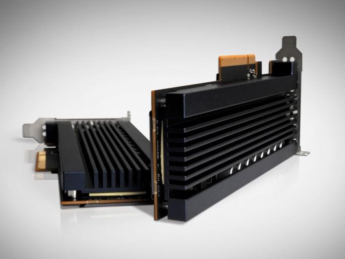 XPoint-Konkurrent von Samsung: die Z-SSD. Allerdings scheint es hier ein Problem mit der Hitzeentwicklung zu geben, fällt doch die Kühlung recht umfangreich aus  (Bild: Samsung)