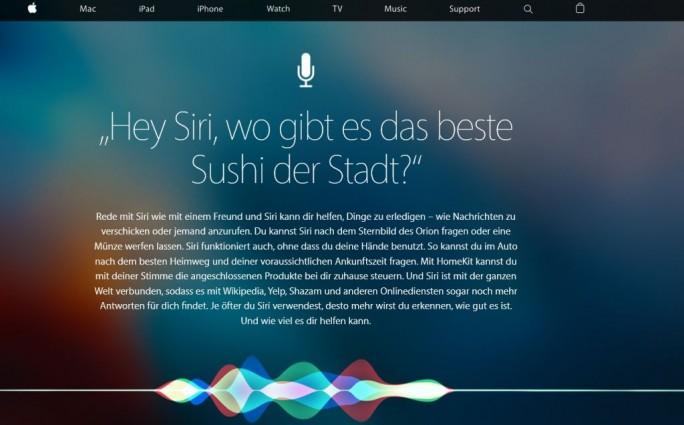 """Das """"beste Sushi der Stadt"""",  Apples Spracherkennung für iPhone oder iPad verspricht es zu finden. (Screenshot: Mehmet Toprak)"""