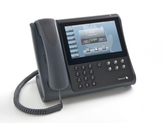 Wie ein Business-Telefon mit großem Touchdisplay sieht die Desktop-Lösung von Starleaf aus. (Bild: Starleaf)
