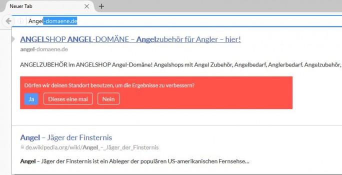 Die Suche mit der Firefox-Erweiterung Cliqz nach Angela Merkel kann frühzeitig im Angler-Shop enden (Screenshot: silicon.de)