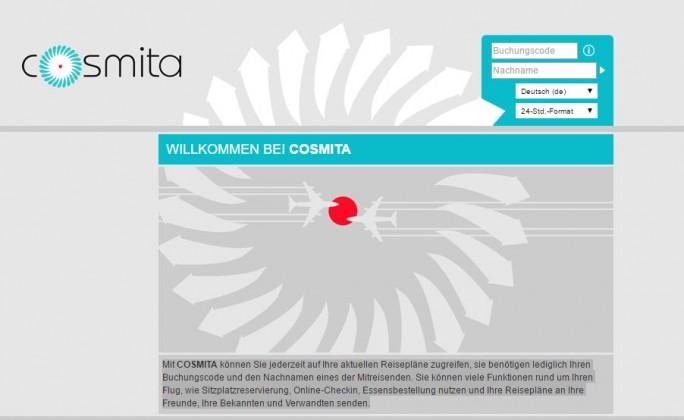 Einloggen über Name und Buchungscode. Über Cosmita konnte man über eine Änderung an der URL auch die Daten anderer Fluggäste ausfindig machen. Millionen Reisende sollen betroffen sein. (Screenshot: silicon.de)