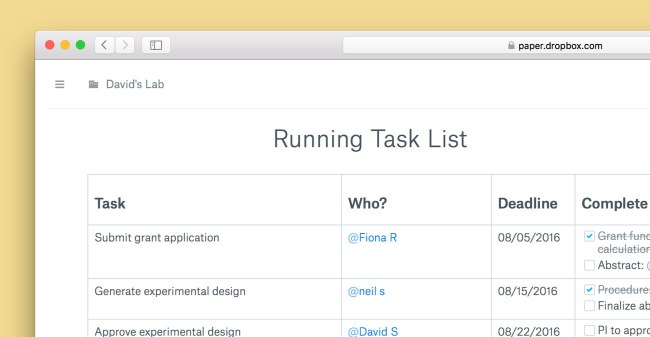In Dropbox Paper angelegte Aufgabenliste in der Webansicht (Screenshot: Dropbox)