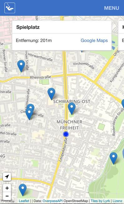 Spielplatzfinder von  Codefor München. Solche Apps sollen in dem neuen Prototype Fund besonders gefördert werden. (Bild: Codefor.de)