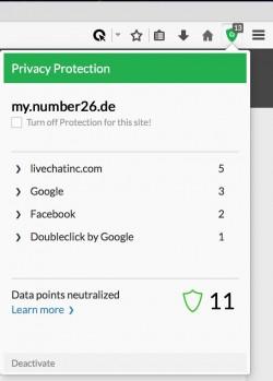 Bei N26 (ehemals Numbers26) wird auch nach dem Log-in noch mehrfach getrackt. (Screenshot: Cliqz)