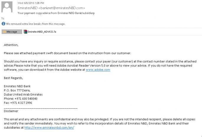 Über Mails wie diese wurde die Malware vor allem bei hochrangigen Managern in die Unternehmensnetze eingeschleust. (Bild: Kasperky Lab)