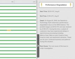 """An den aktuellen, eher vagen Aussagen zu den Gründen für Probleme wird sich trotz der geplanten Ergänzung am Dienst """"Salsesforce Trus"""" wohl auch künftig nicht viel ändern. (Screenshot: silicon.de)"""