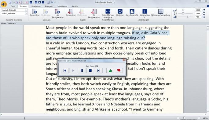 Voice Reader Studio 15 liest Texte vor. Die Stimmen der Sprecher klingen mittlerweile schon relativ natürlich.(Screenshot: Mehmet Toprak)