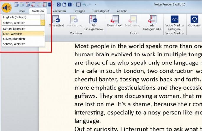 Bei Voice Reader Studio wählt der Nutzer zwischen deutschen und englischen Sprechern und hat dabei jeweils vier unterschiedliche Stimmen zur Auswahl. (Screenshot: Mehmet Toprak)