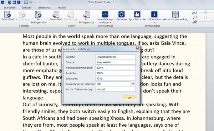 Merkmale wie Vorlesegeschwindigkeit, Tonhöhe, Lautstärke oder Satzpausen kann der Anwender bei Voice Reader individuell festlegen. (Screenshot: Mehmet Toprak)