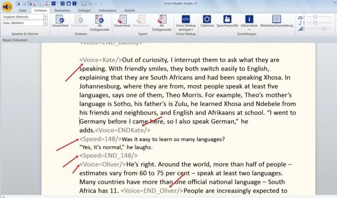 Um das Vorlesen der Texte abwechslungsreicher zu gestalten, kann der Nutzer die Sprecher immer wieder wechseln. Die roten Pfeile verweisen auf die jeweiligen Markups. (Screenshot: Mehmet Toprak)