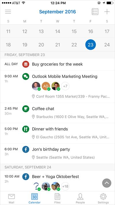 Nett: Erkennt Outlook etwa das Wort Dinner als Begriff in einem Termin, passt die App das Icon für den Termin entsprechend an. Das soll dem Anwender zusätzliche Orientierungshilfe geben. (Bild: Microsoft)