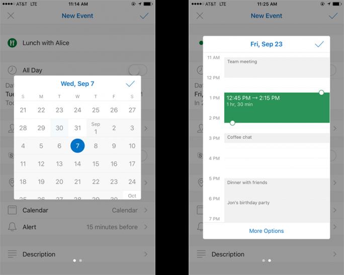 Auch die Auswahl von Terminen vereinfacht Microsoft mit dem aktuellen Update für Outlook for iOS und Android. (Bild: Microsoft)