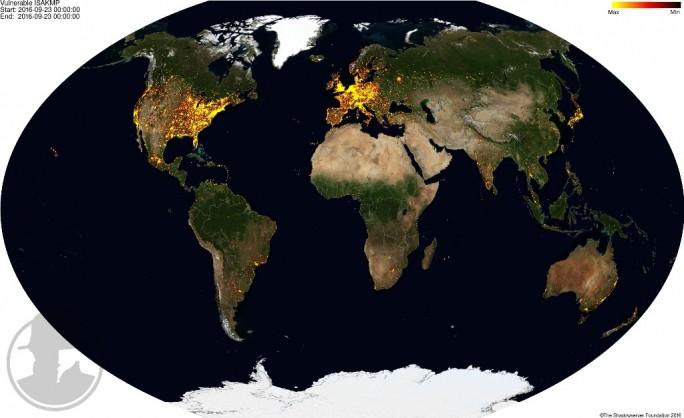 Vor allem in Mitteleuropa und Nordamerika stehen die von dem Leck betroffenen Cisco-Geräte. Insgesamt sollen  850.000 Router und Firewall-Lösungen anfällig sein. (Bild: Shadowserver Foundation)