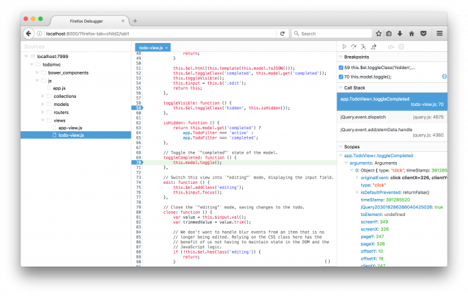 Debugger.html ist ein neues Entwickler-Tool für Firefox, das aber aufgrund neuer Web-Technologien künftig auch mit Chrome verwendet werden kann. (Bild: Mozilla Foundation)