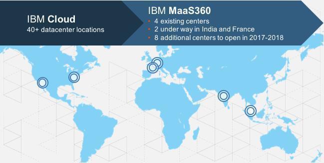 IBM baut das weltweite Netz von Rechenzentren weiter aus und so werde auch die lokale Verfügbarkeit der Cloud-basierten EMM-Lösung ausgeweitet. (Bilder: IBM)