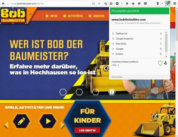 """Die zu Mattel gehörende Website für die Marke """"Bob der Baumeister"""" nutzt dem Browser-Plug-in von Cliqz zufolge vier Tracking-Tools. Die von Tealium und New Relic dienen der internen Optimierung der Site (Screenshot: silicon.de)."""