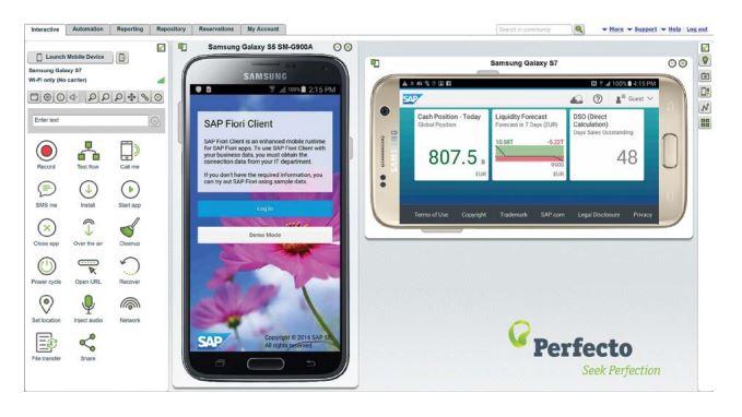 Perfecto hat das Continuous Quality Lab jetzt mit der SAP HANA Cloud Plattform integriert. Enwickler können so innerhalb von HCP Anwendungen unter realen Bedingungen Testen. (Bild: Perfecto Mobile)