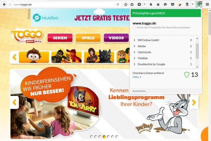 Auf der für Kinder bestimmten, deutschen Website Toggo.de laufen dem Browser-Plug-in von Cliqz zufolge mindestens 13 Tracker (Screenshot: silicon.de).