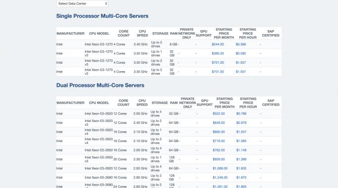IBM Softlayer-Services wie etwa für Bare Metal Server wird es künftig unter der Marke Bluemix geben. (Bild: IBM)