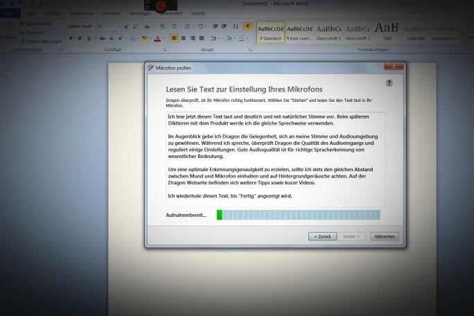 Das Mikrofon wird kalibriert, wenn man einen kurzen Text vorliest. (Screenshot: Mehmet Toprak)