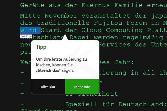 Kontextabhängige Tipps helfen vor allen Neulingen beim Umgang mit der Software. (Screenshot: Mehmet Toprak)