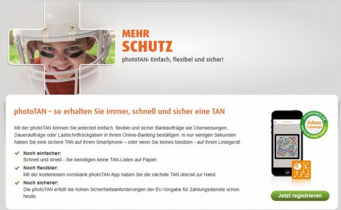 Auch die Norisbank stellt in ihrer Beschreibung des photoTAN-Verfahrens Sicherheit und Einfachheit in den Vordergrund (Screenshot: silicon.de)