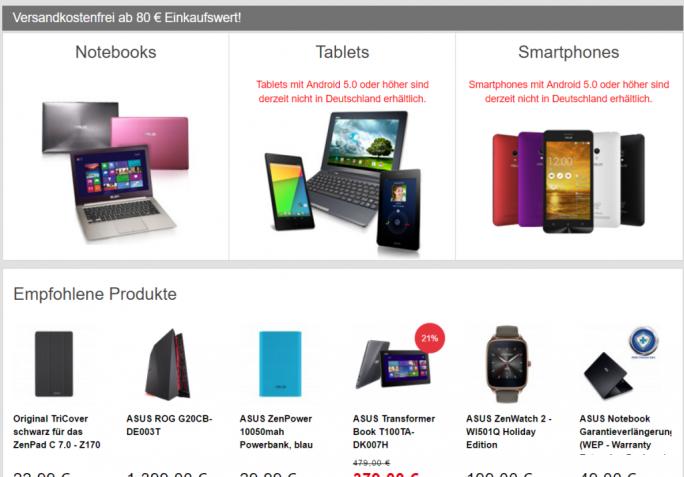 Asus hat aufgrund eines Patentstreits mit Philips vorübergehend den Verkauf von Android-Smartphones und -Tablets in Deutschland eingestellt. (Screenshot: silicon.de).