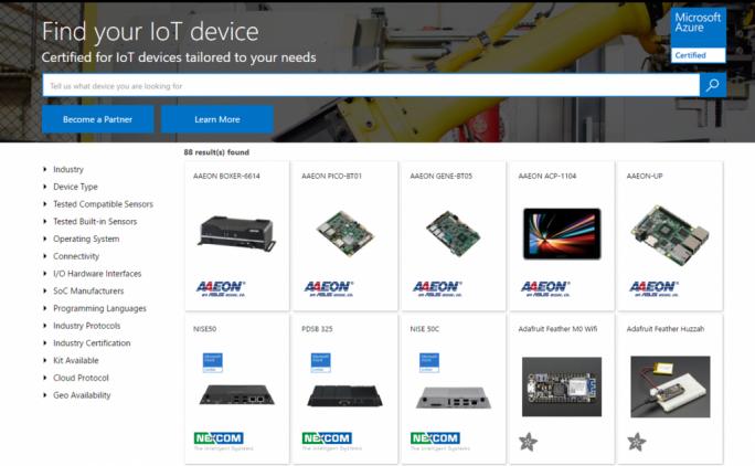 Neben einer Liste mit Anbietern von Sicherheitsdienstleistungen bietet Microsoft nun auch einen Katalog mit Geräten die für Azure IoT zertifiziert sind. (Bild: Microsoft)