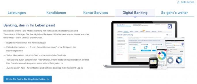 """""""Sicher überweisen mit photoTAN - ohne zusätzliche Tan-Liste"""" wirbt die Deutsche Bank auf ihrer Website (Screenshot: silicon.de)"""