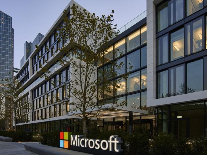 Eingang der neuen Deutschlandzentrale von Microsoft in der Parkstadt Schwabing in München (Bild: Microsoft)