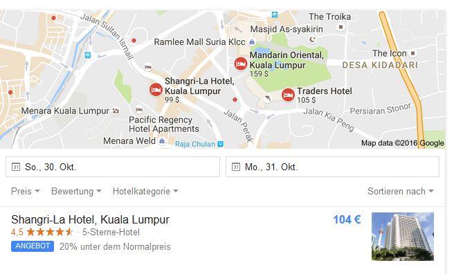 Bei der Suche nach Hotels weist Google nun jedermann auf im Vergleich zu früheren Angeboten besonders günstige Preise hin (Screenshot: silicon.de)
