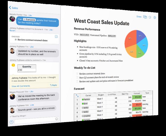 Quip bietet das Konzept des Living Documents, über das sich Teams eine kollaborative Umgebung zusammenstellen können. (Bild: Salesforce.com)