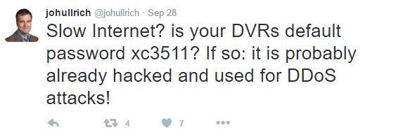 James Ullrich, Sicherheitsexperte bei SANS Institute warnt über Twitter vor Hackern, die unsichere Video-Rekorder angreifen. (Screenshot: silicon.de)