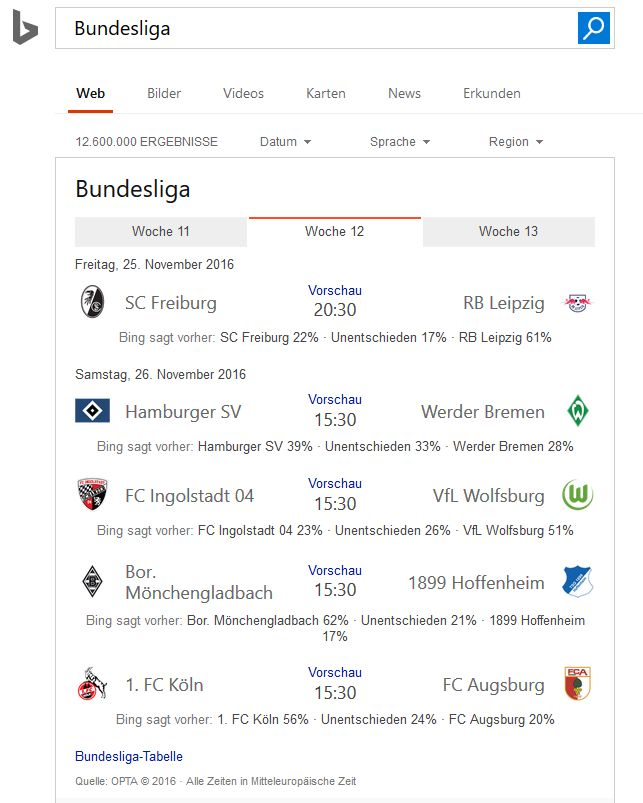 Bing Bundesliga-Prognose (Screenshot: silicon.de)