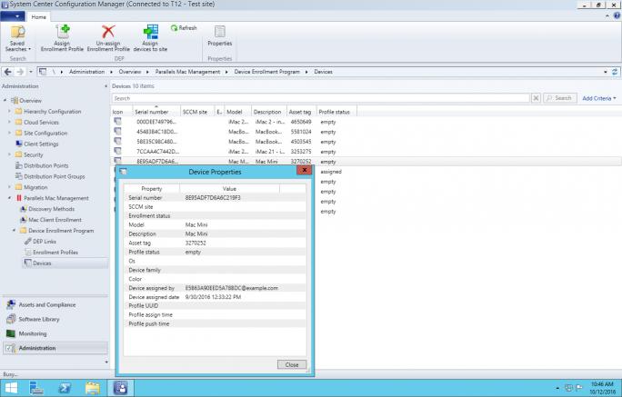 SCCM zeigt im DEP-Portal registrierte Macs. (Bild: Parallels)