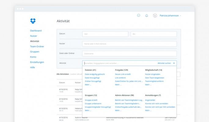 Die Verwaltunsgkonsole AdminX für Dropbox-Business-Kunden (Screenshot: Dropbox)