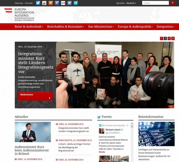Website Außenministerium Österreich (Screenshot: silicon.de)