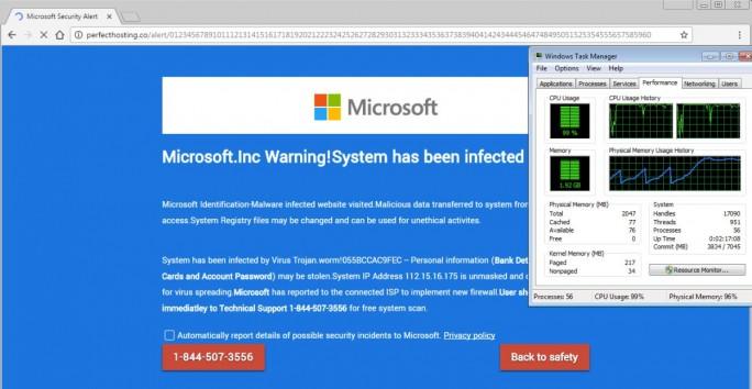 Tech-Support-Scammer nutzen vermehrt eine Lücke in HTML5 um Opfer zum Anruf bei ihrer Nummer zu bewegen (Screenshot: Microsoft)