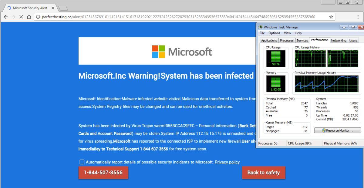 Tech-Support-Scammer nutzen vermehrt eine Lücke in HTML5 um Opfer zum Anruf bei ihrer Nummer zu bewegen (Screen