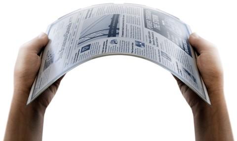 Die von der Firma Skiff 2010 auf der CES gezeigte digitale Zeitung auf einem biegbaren Display (Bild: Skiff)