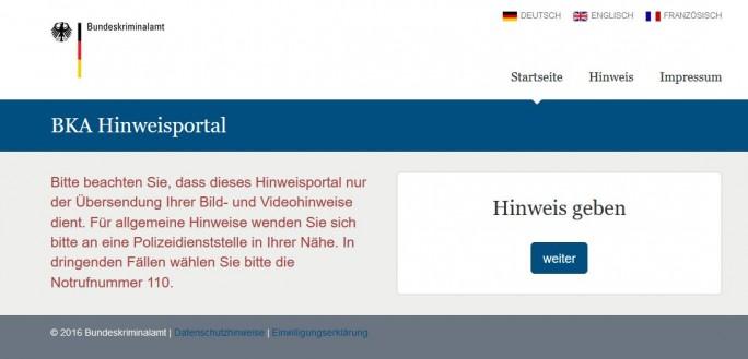 Nach DDoS-Attacke am Dienstag jetzt wieder verfügbar: Das Hinweisportal des Bundeskriminalamtes (Screenshot: silicon.de)
