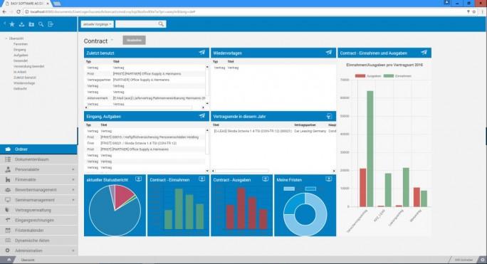 Das Modul Easy Contract der ECM Suite unterstützt Anwender bei der zentralen Verwaltung und Verarbeitung von Verträgen. (Screenshot: Easy Software)